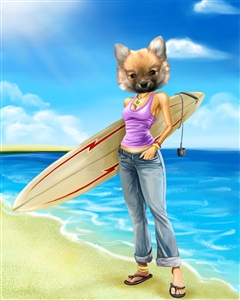 Surfer Chick Caricature from Photo