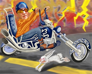 Hell on Wheels Biking Guy Caricature from Photo