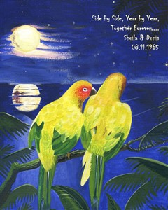 Evening Lovebirds - Watercolor Print with Custom Text for Anniversary