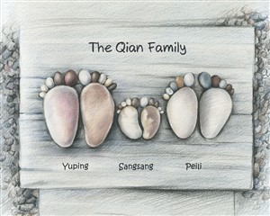 Stone Feet Family of Three - DaVinci Sketch Print with Custom Text