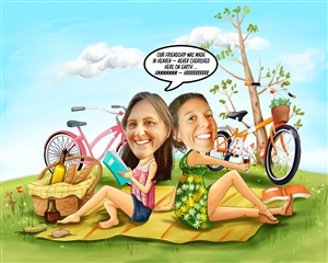 Picnic Gals Caricature from Photos