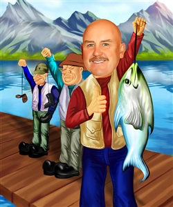 Fishing Man Caricature from Photo