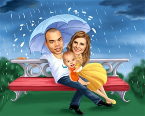 Stormy Weather Romance Caricature from Photos