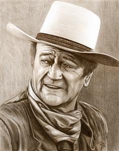 John Wayne Pencil Sketch Print