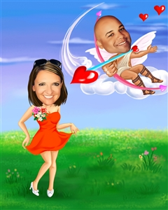 Cupid in Love Romance Caricature from Photos