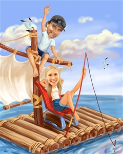 Marine Adventure Couple Caricature from Photos