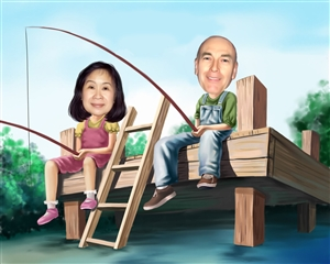 Fishing Together Caricature from Photos