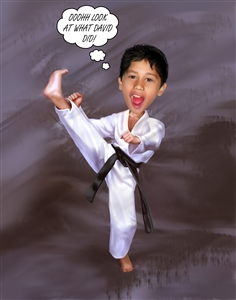 Karate Chop Sports Caricature from Photo