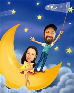 Couple on the Moon with Stars Caricature from Photos