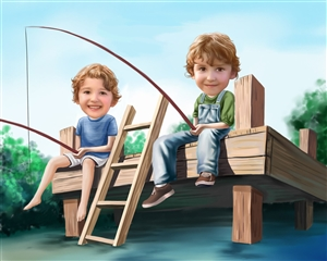 Fishing on the Pier Caricature from Photos