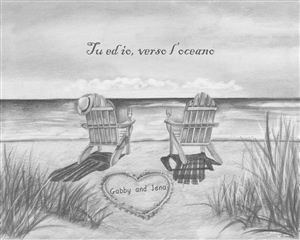 Ocean Leisure Chairs - Pencil Sketch Print with Custom Text