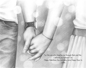 Holding Hands Forever II - Pencil Sketch Print with Custom Text for Anniversary, Valentine's Day, etc.