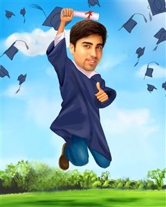 His Graduation II Caricature for Him from Photo