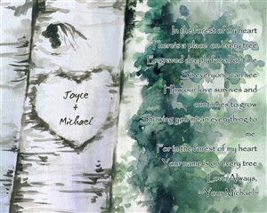 Forest of Love - Ink Rendering Print with Custom Text