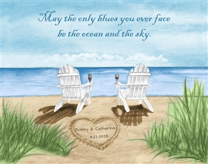 Ocean Leisure Chairs - Watercolor Print with Custom Text for Anniversary