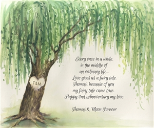 Custom Watercolor Print of Weeping Willow with Your Text for Anniversary, Wedding, Engagement