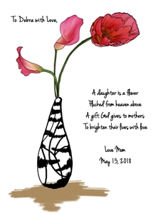 Flowers for Mother - Watercolor Print with Custom Text for Her