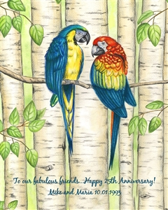 Affectionate Parrots - Watercolor Print with Custom Text