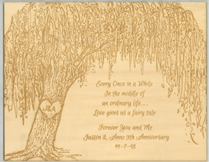 Framed Wood Engraved Willow Tree with Custom Text for Anniversary or Wedding