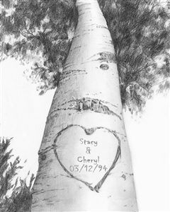 Love Birch Tree Pencil Sketch Print with Custom Text for Anniversary, Wedding, etc