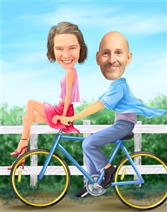 Riding Bike Couple Caricature from Photos