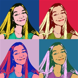Pop Art 4 Panels from Photo