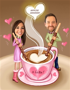 I Love You a Latte Couple Caricature from Photos