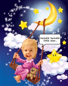 Little Star Girl Caricature from Photo