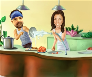 Kitchen Fun Couple Caricature from Photos