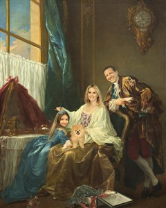 Custom Renaissance Family Portrait by Drouais from Photos