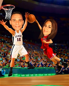Couple Caricature Playing Basketball from Photos
