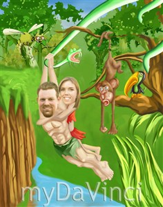 Tarzan and Jane Jungle Adventure Caricature from Photos