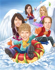 Snow Tubing Caricature from Photo