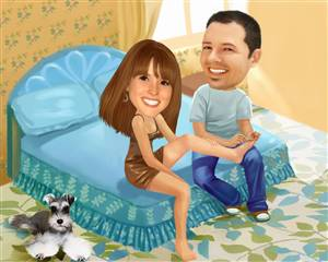 Complimentary Pedicure Couple Caricature from Photos