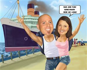 Cruise Couple Caricature from Photos