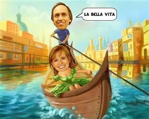 Gondola Ride Couple Caricature from Photos