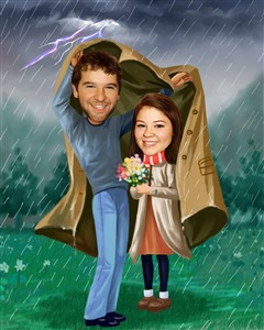 Couple Caricature - Stand by Me in Storm, from Photos