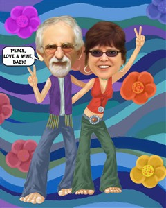 Hippies Couple Caricature from Photos