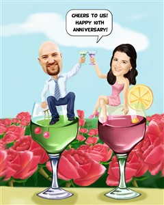 Wedding Couple Cheer with Wine Caricature from Photos