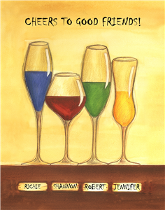Cheers to Friendship Wine Glasses IV - Watercolor Print with Custom Text