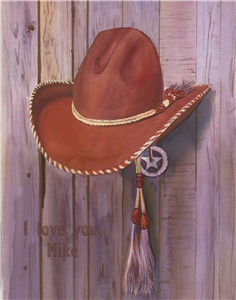 Cowboy Hat Watercolor Print with Custom Text