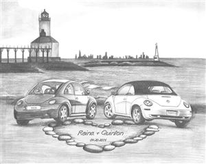 Love Bugs Custom Pencil Sketch Print