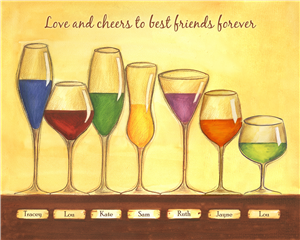 Cheers to Friendship Wine Glasses VII - Watercolor Print with Custom Text for Your Friends