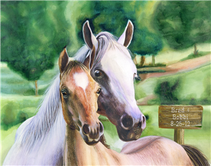 Wild Horses Watercolor Print with Custom Text