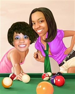 Female Pool Players Caricature from Photos