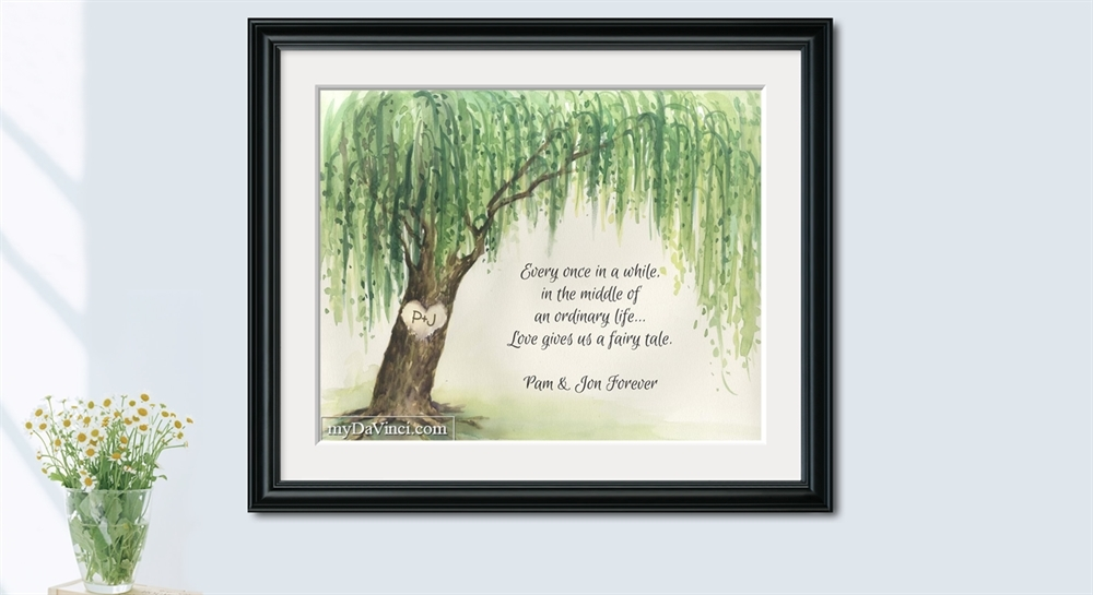 Willow Tree Watercolor Print With Custom Text For Anniversary