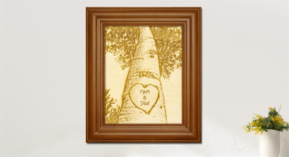 Framed Wood Engraved Love Birch Tree with Custom Text - myDaVinci.com
