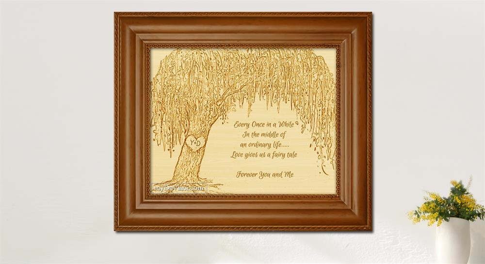 Framed Wood Engraved Willow Tree With Custom Text For Anniversary Or