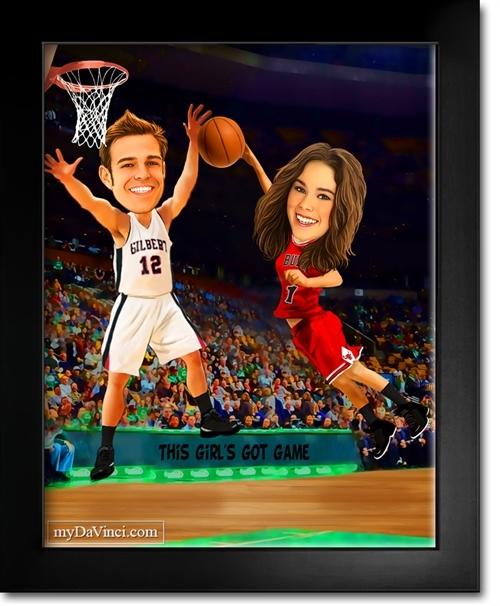 Basketball Couple Caricature From Photos Mydavinci Com