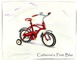 Child's Red Bicycle Watercolor